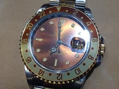 ロレックス GMTマスターⅡ 16713 P番 SS×YG/AT 旧JB ブラウン文字盤