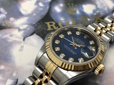 ロレックス買取 デイトジャスト買取 レディース 青グラデーション Ref.79173G 腕時計買取 七条店