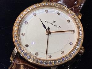 ブランパン ヴィルレウルトラスリム Ref.6102-2987-55A PG×革 純正ダイヤベゼル