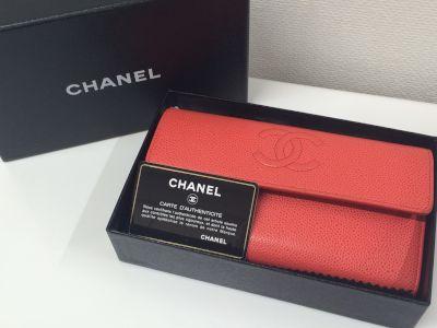シャネル(CHANEL)二つ長財布 キャビアスキン オレンジ 20番代
