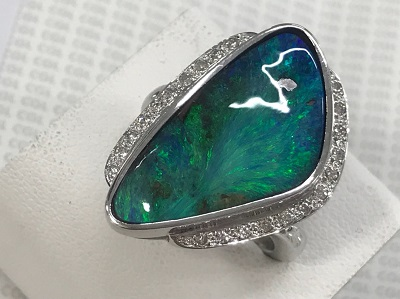 ボルダーオパール買取 10.75ct ダイヤモンド買取 0.21ct リング PM900 宝石売るならMARUKA大宮店へ。