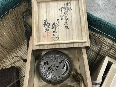 青磁銀ボヤ香炉  諏訪蘇山 金谷五良三郎 合作 出張買取