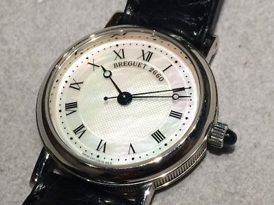 ブレゲ買取 クラシック 8067 750×革 シェル文字盤 時計買取 渋谷