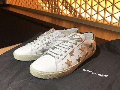 サンローラン買取 スニーカー 星柄 レザー ホワイト 靴買取 渋谷