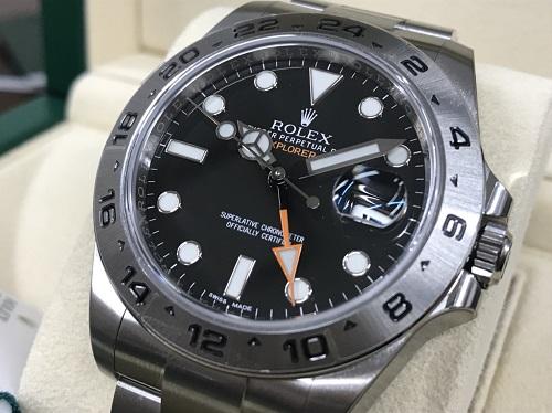 ロレックス買取 時計買取 エクスプローラーⅡ 216570 SS 黒文字盤 新品未使用品 京都四条河原町マルイ店