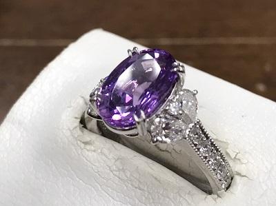 バイオレットサファイア買取 3.74ct メレダイヤモンド 0.96ct リング Pt900 宝石買取 下京区 西院 七条店