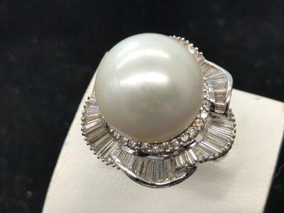 大玉真珠指輪買取 メレダイヤモンド3.45ct付 宝石売るならやっぱり大阪MARUKA心斎橋店