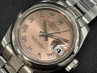 ロレックス時計売るならマルカ! オイスターパーペチュアルデイトジャスト買取 179160 ピンクローマ レディースモデル