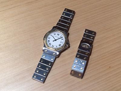 カルティエ買取 サントスオクタゴン SS×YG クオーツ ブレス切れ 壊れた時計買取 渋谷