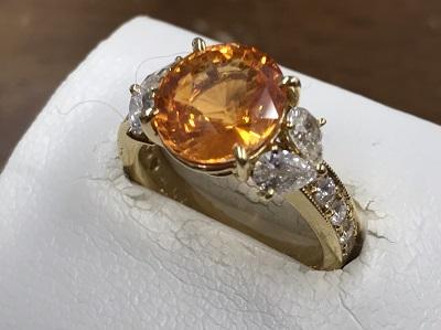 ゴールデンサファイア買取 4.49ct メレダイヤモンド 1.02ct 宝石買取 下京区 西七条 西院 七条店
