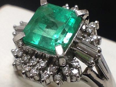 プラチナ エメラルド  Pt900 2.85ct ダイヤモンドリングジュエリー 高額買取 東京 渋谷 マルカ