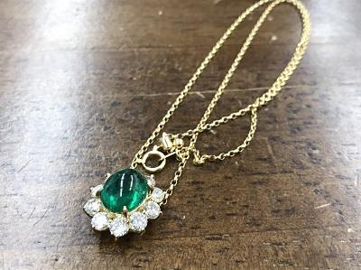 エメラルド買取 4.79ct メレダイヤモンド 2.20ct ネックレス買取 K18 金 西院 西大路 吉祥院 七条店