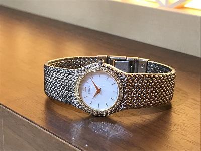 クレドール買取 レディースウォッチ 18KT×SS 4N70-0170 ダイヤベゼル 時計買取