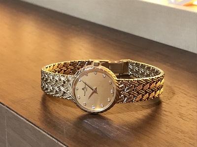 ボーム&メルシェ レディースウォッチ 750YG 12Pダイヤ 金無垢 時計買取 渋谷