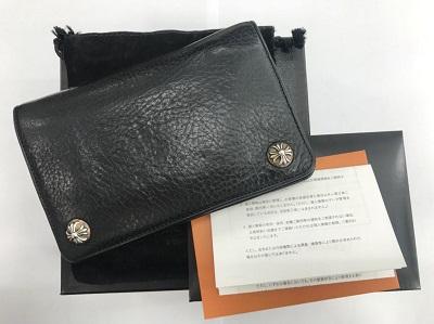 クロムハーツ買取 2ジップ レザーウォレット クロスボタン インボイス付 クロムハーツ高く売るなら 京都 MARUKA大宮店へ
