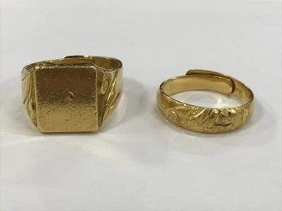 金買取 印代純金 リング 18,6g 純金リング 5,6g 金高く売るなら 京都MARUKA大宮店へ