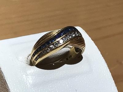 宝石買取 サファイア ダイヤモンド K18 0.64ct 0.46ct 7.7g 出張買取
