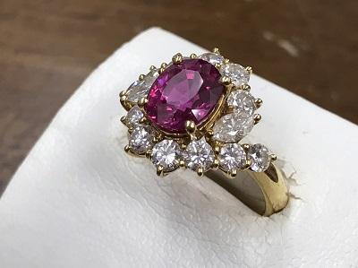 ルビー買取り 3.029ct メレダイヤモンド買取り 1.70ct 金 リング 宝石 西大路 下京区 南区 西七条 七条店