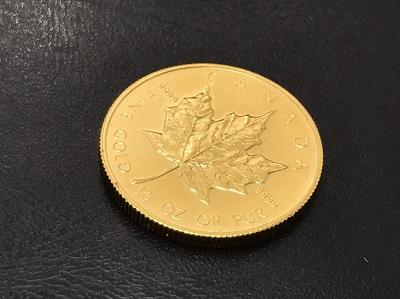 金貨買取 メイプルリーフ K24 純金 地金 1/2OZ 15.5g 七条 買取