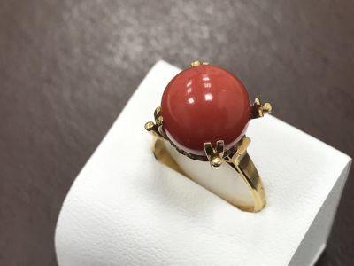 サンゴ買取 K18台珊瑚(サンゴ)の指輪 宝石でも骨董でもサンゴ買取ならMARUKA大阪心斎橋店