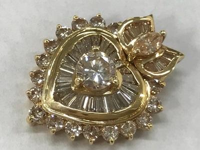 ダイヤモンド買取 K18 イエローゴールド台 ハートペンダント 1.20ct 0.42ct ダイヤモンド高く売るなら 京都MARUKA大宮店へ