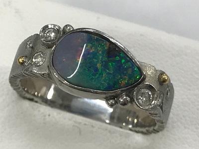 オパール買取 ボルダーオパール 1,55ct ダイヤモンド 0.12ct K18WG リング オパール高く売るなら 京都MARUKA大宮店へ