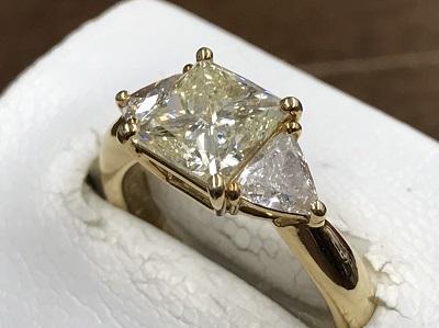 ダイヤモンド買取 2.01ct プリンセスカット イエローダイヤ買取 18金リング 宝石 西七条 西大路 七条店