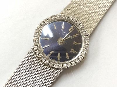 パテックフィリップ レディースウォッチ ホワイトゴールド ダイヤベゼル 故障 時計 買取 京都 四条 河原町