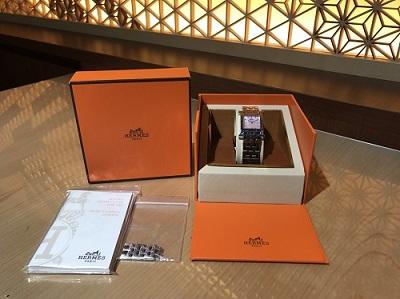 エルメス買取 Hウォッチ HH1.210 ピンクシェル 12Pダイヤ 時計買取 渋谷 レディース