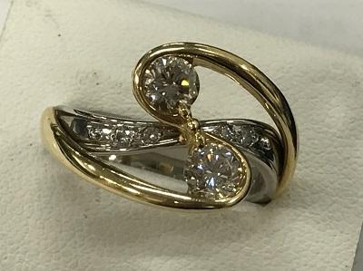 ダイヤモンド買取 ダイヤモンドリング 0.34ct 0.33ct 0.05ct K18 PT900 ダイヤモンド高く売るなら MARUKA大宮店へ