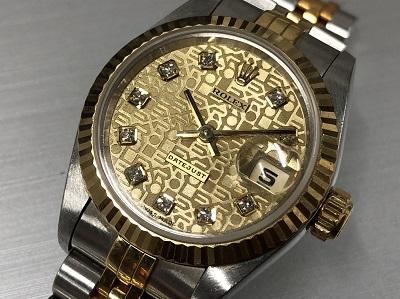 ロレックス買取 デイトジャスト 69173G 彫りコン レディース 時計買取 渋谷