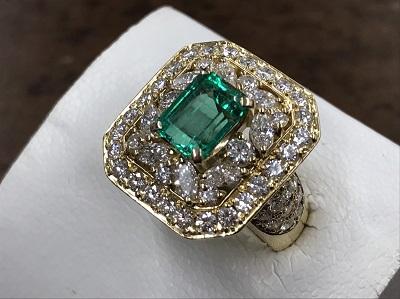 エメラルド買取 1.31ct メレダイヤモンド買取 1.65ct 指輪 宝石 京都市下京区 西七条 西大路 七条店