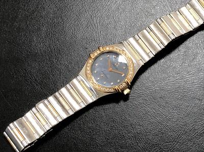 オメガ レディース時計 コンステレーション USA限定 シェル文字盤 ダイヤモンド ブランド買取 京都 河原町