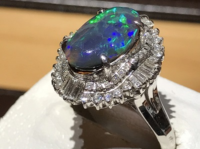 ブラックオパール買取り 3.56ct メレダイヤモンド買取 0.95ct プラチナリング 祇園四条 堺町 四条通 四条店