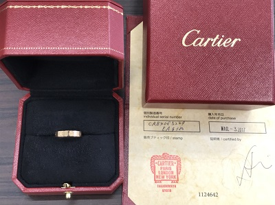 カルティエ買取 ミニラブリング 750PG #49 箱 保証書付 カルティエ高く売るなら MARUKA大宮店へ