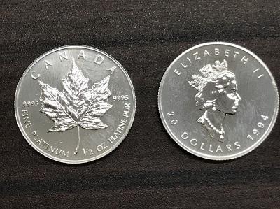 プラチナ買取 プラチナメイプルリーフコイン 1/2オンス 2枚 プラチナ高く売るなら MARUKA大宮店へ