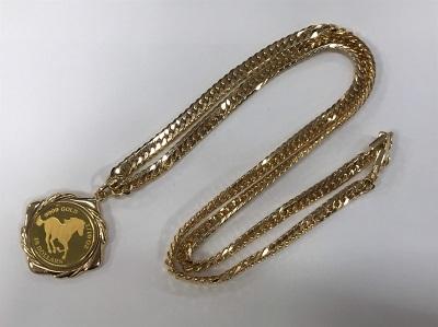 金買取 K24 ツバルホース金貨 1/10オンス K18 ペンダント枠 ネックレス 35.3g 金高く売るなら MARUKA大宮店へ