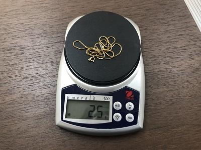18金のネックレス 貴金属を高く高く買取 K18の刻印 2.5グラム マルカ京都マルイ店 大阪 東京