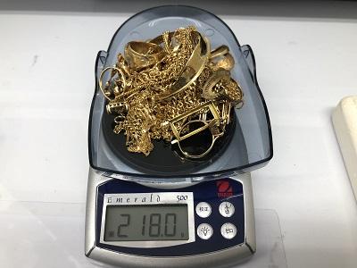 黄金買取 18金・K18買取 アクセサリー類まとめ 貴金属 218.0グラム マルカ郵送買取 出張買取