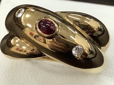カルティエ買取 コリゼ リング ルビー ダイヤ 750YG #49 カルティエ高く売るなら MARUKA大宮店へ
