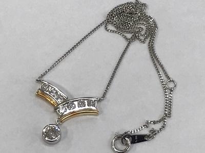 ダイヤモンド買取 プラチナ ゴールド コンビ ダイヤモンド 1.00ct ネックレス ダイヤモンド高く売るなら MARUKA大宮店にお任せ下さい。