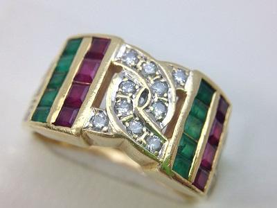 K18 エメラルド&ルビー ファッションリング買取 宝石の買取はプロにお任せ MARUKA心斎橋店
