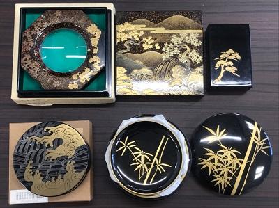 骨董品買取 蒔絵 盒子 ルーペケース 象彦 菓子皿 4点一式 骨董品買取もMARUKA大宮店へ