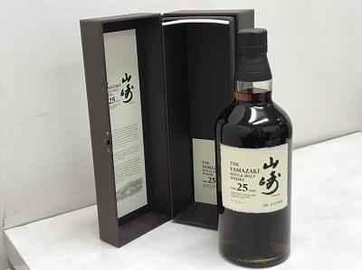 お酒買取 サントリー山崎 25年 700ml 箱付 お酒高く売るなら MARUKA七条店へ