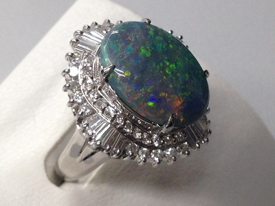 オパールリング買取 4.84ct プラチナ台 メレダイヤ 宝石買取 オパール高く売るならMARUKA心斎橋店