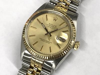 ロレックス買取 デイトジャスト 16013 コンビ ブレス伸びあり 時計買取 マルカ渋谷