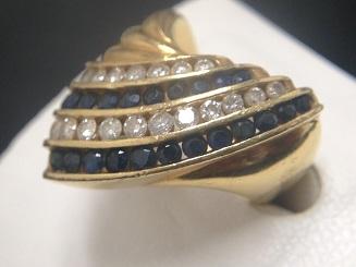 K18 ダイヤモンド(1.00ct)&サファイア(0.70ct)リング買取 宝石 ファッションリング買取MARUKA心斎橋店