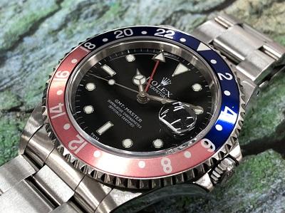 ロレックス買取 GMTマスターⅠ 16700 A番 赤×青 保証書有 四条 買取