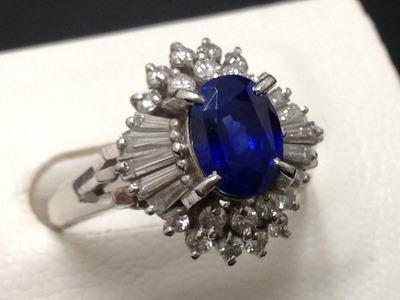 サファイアリング買取 2.13ct メレダイヤも1.15ct プラチナ台 宝石買取ならMARUKA心斎橋店