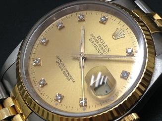 ロレックス デイトジャスト買取 10Pダイヤ 16233G 時計を高く売るならMARUKA心斎橋店